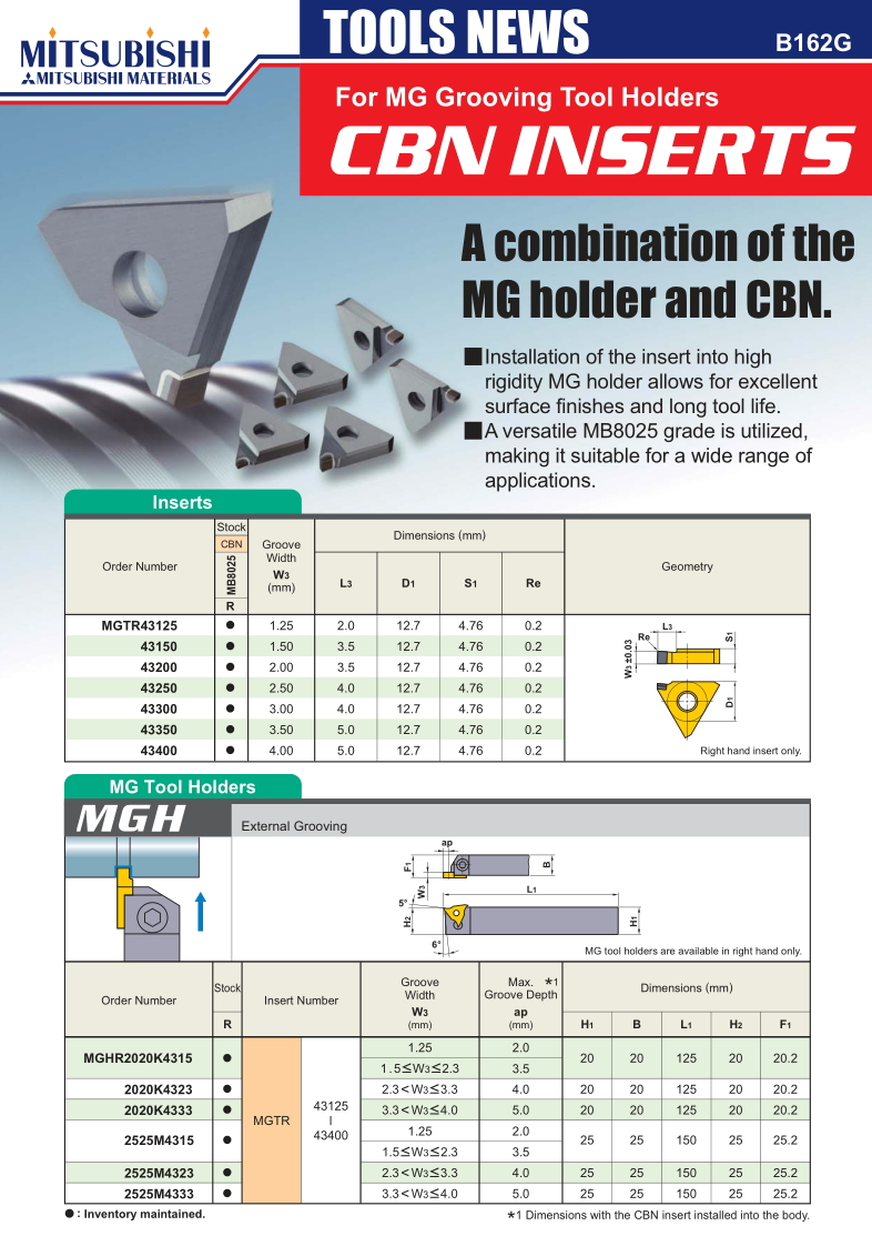 CBN Inserts for MG Grooving Toolholders